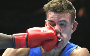 Wales' Nathan Thorley found himself on the receiving end during his light-heavyweight bout with Mauritius' Kennedy St. Pierre at the Commonwealths